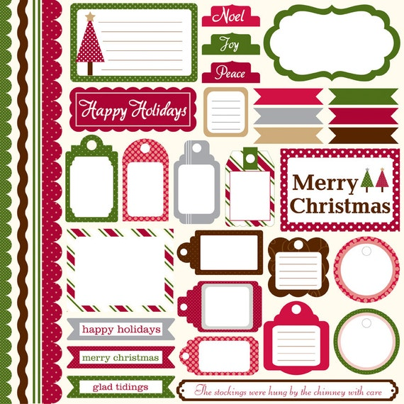 1 Sheet of Echo Park Paper DOTS & STRIPES HOLIDAY 12x12 Christmas Scrapbook Element Stickers