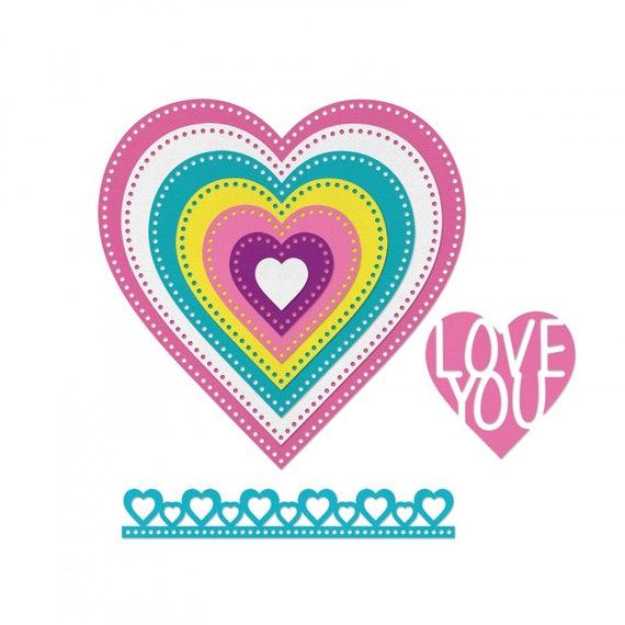 Sizzix Framelits Die Set 9PK - Hearts, Dotted by Stephanie Barnard 662730