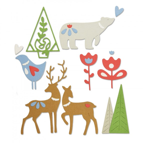 Sizzix Thinlits Die Set 10PK 664451 Festive Tails by Lisa Jones