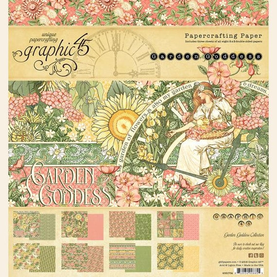 New! Graphic 45 GARDEN GODDESS 8x8 Double-Sided Scrapbook Paper Pad