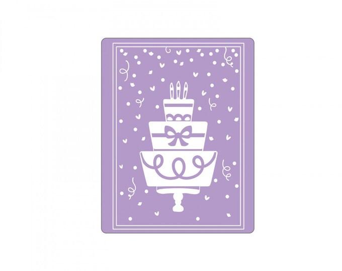 New! (will ship July 25th) Sizzix Impresslits Cut & Emboss Embossing Folder - Birthday Cake 662829