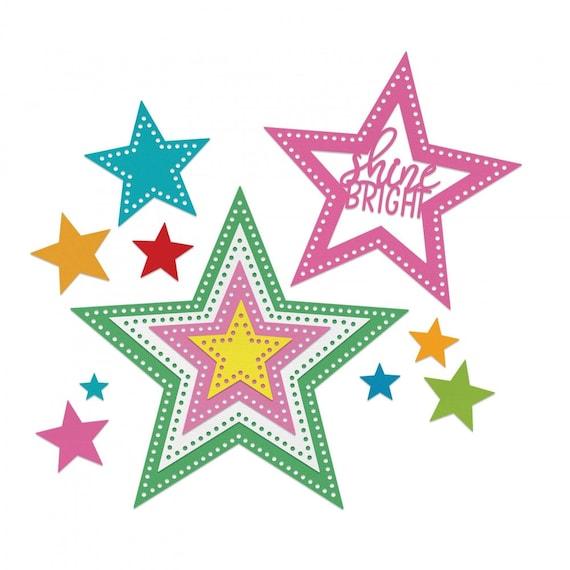 Sizzix Framelits Die Set 14PK - Stars, Dotted by Stephanie Barnard 662731