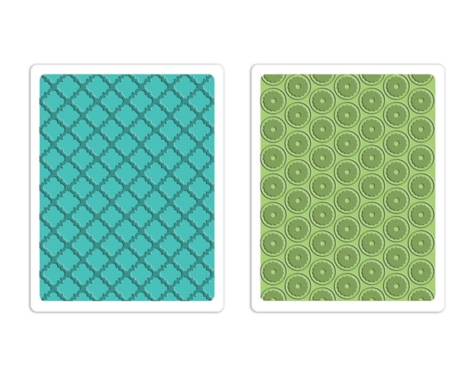 New! Sizzix Textured Impressions Embossing Folders 2PK - Playful & Flower Circle Set by Stephanie Barnard 659653