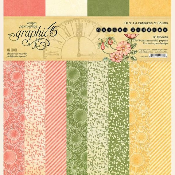 New! Graphic 45 GARDEN GODDESS 12x12 Patterns & Solids Double-Sided Scrapbook Paper Pad