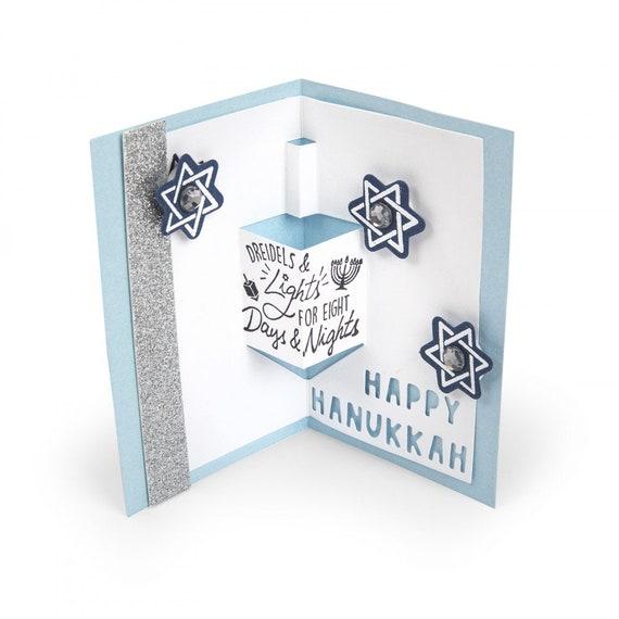 New! Sizzix Framelits Die Set 8PK w/Stamps - Dreidel Pop-Up Card by Lindsey Serata 663164