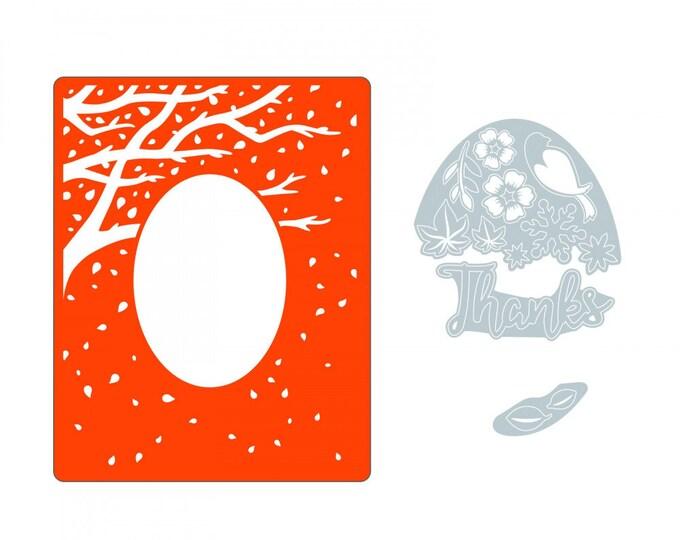 New! (will ship July 25th) Sizzix Impresslits Cut & Emboss Embossing Folder - Changing of the Seasons 662828