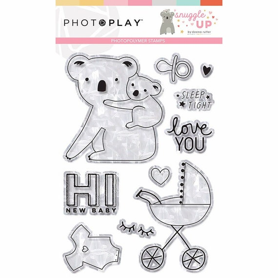 New! Photo Play SNUGGLE UP GIRL Baby Theme Clear Polymer Stamp Set (SNG9258)