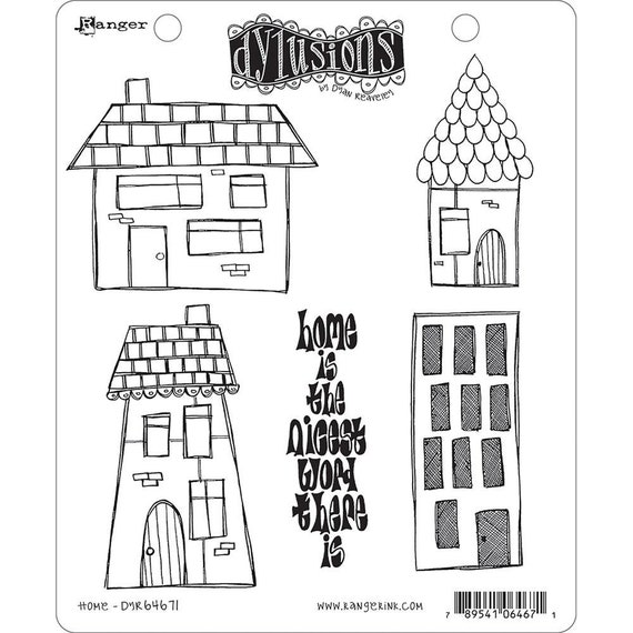 New! Dylusions HOME Cling Mount Rubber Stamps Set by Dyan Reaveley