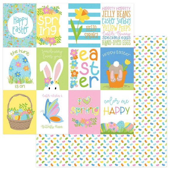 New! 2 Sheets of Photo Play BUNNY TRAIL 12x12 Easter Theme Scrapbook Cardstock Paper - Hoppy Easter