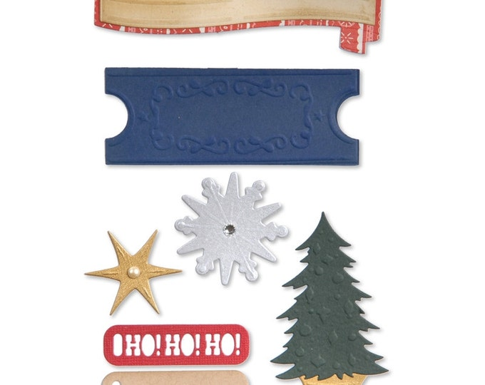 New! Sizzix Thinlits Die Set 9PK - Labels & Snowflakes by Basic Grey 659992