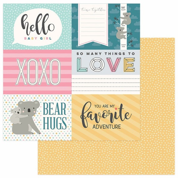 New! 2 Sheets of Photo Play SNUGGLE UP GIRL 12x12 Baby Theme Scrapbook Cardstock Paper - Hello Baby Girl