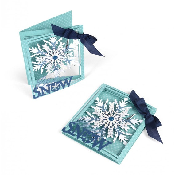 New! Sizzix Thinlits Die Set 8PK - Tri-fold Card, Snowflake by Lindsey Serata 661555