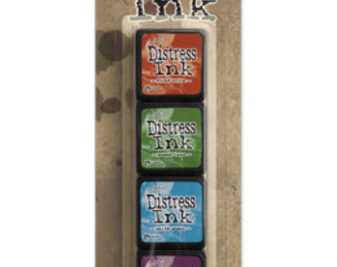 Ranger Tim Holtz MINI DISTRESS INK Pads - Set # 2 (Fired Brick, Mowed Lawn, Salty Ocean, and Seedless Preserves)