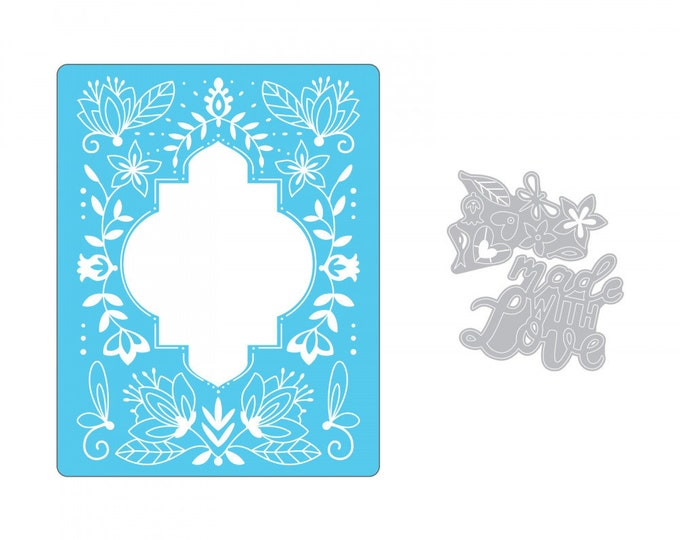 New! (will ship July 25th) Sizzix Impresslits Cut & Emboss Embossing Folder - Made With Love 662831