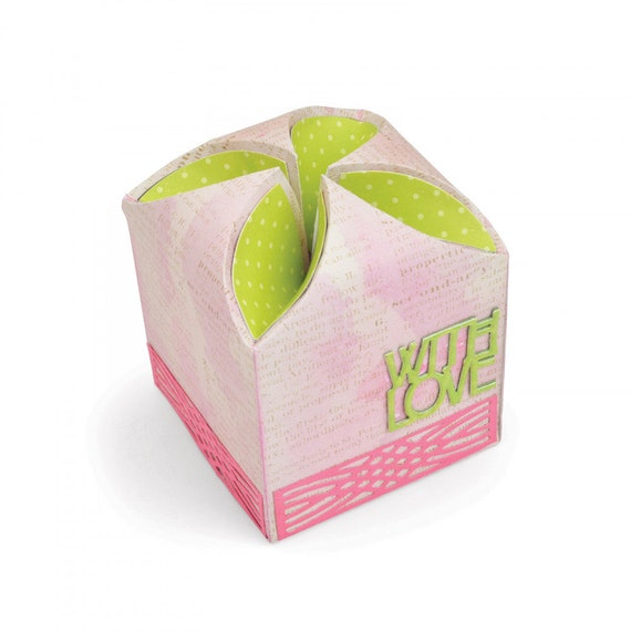 New! Sizzix Thinlits Die Set 6PK - Box, Petal Fold by Lynda Kanase 663179