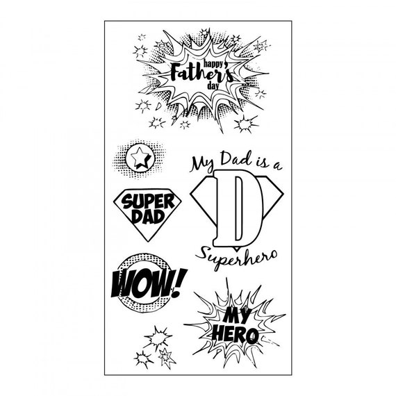 Sizzix Clear Stamps - Super Dad - Father's Day Theme Stamps by Jen Long 662005