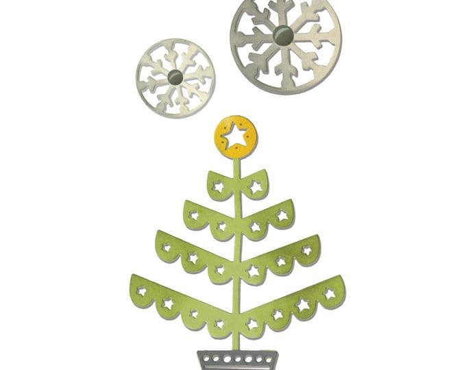 New! Sizzix Thinlits Die Set 3PK - Christmas Tree & Snowflakes by Debi Potter