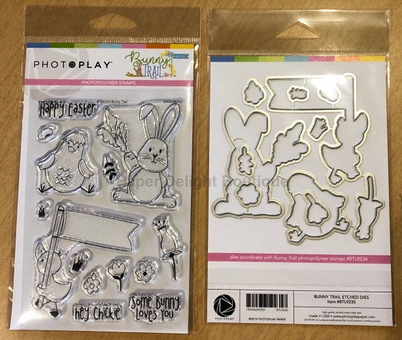 Photo Play BUNNY TRAIL Easter Theme Clear Polymer Stamps and Etched Dies Set