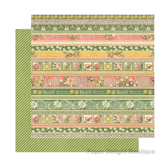 New! 2 Sheets of Graphic 45 GARDEN GODDESS Scrapbook Cardstock Paper - Seeds of Kindness (4501750)