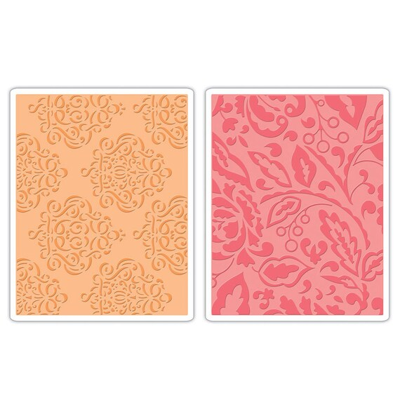 Sizzix Textured Impressions Embossing Folders 2PK - Curly Gate & Berry Splash Set 657395