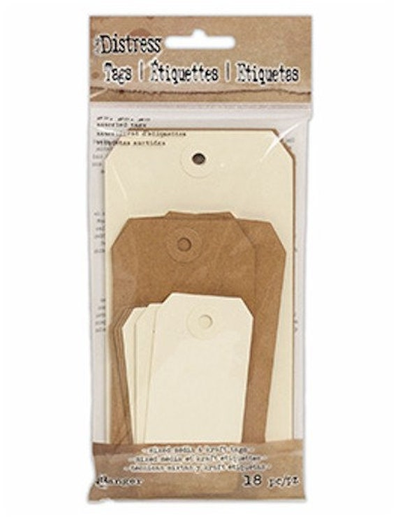 New! Tim Holtz DISTRESS ASSORTED TAGS Mixed Media & Kraft Tags #2 #5 #8