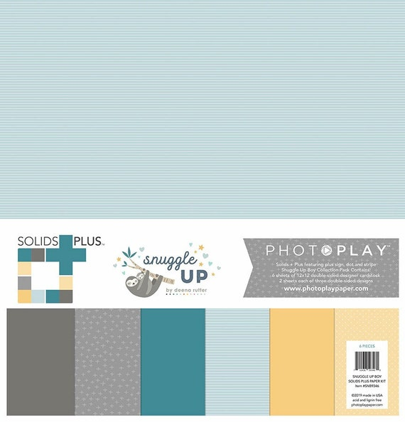 New! 2 Sheets of Photo Play SNUGGLE UP BOY Solids+ 12x12 Baby Theme Scrapbook Cardstock Paper Pack