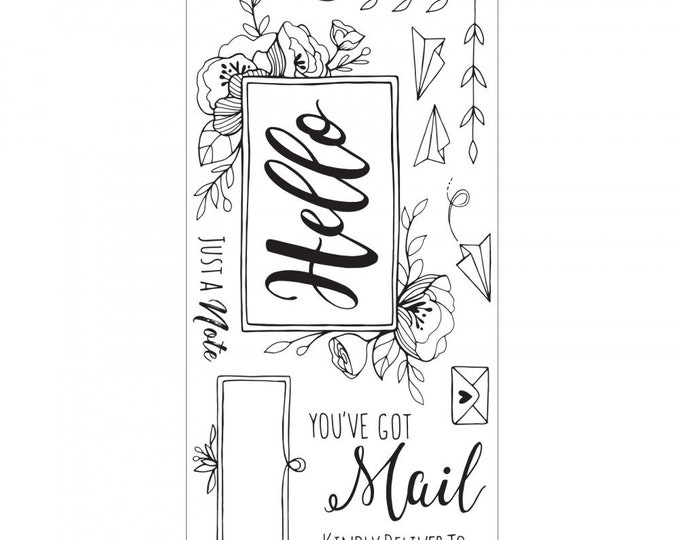 New! (will ship July 25th) Sizzix Interchangeable Clear Stamps - You've Got Mail by Katelyn Lizardi 662795