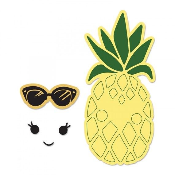 New! Sizzix Framelits Die Set 2PK w/Stamps - Sunny Pineapple by Katelyn Lizardi 662933