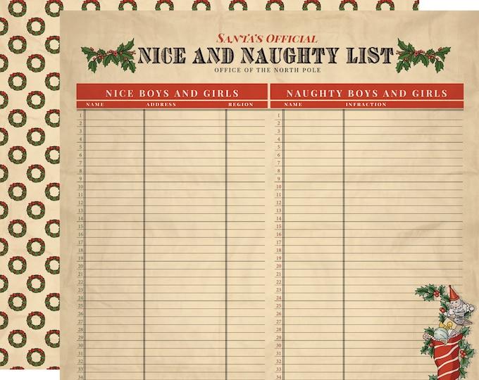 1 Sheet of Carta Bella Paper CHRISTMAS WONDERLAND 12x12 Scrapbook Paper - Naughty and Nice (CBCW46007)