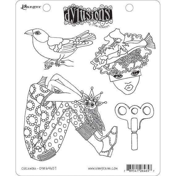 New! Dylusions CLOCKWORK Cling Mount Rubber Stamps Set by Dyan Reaveley