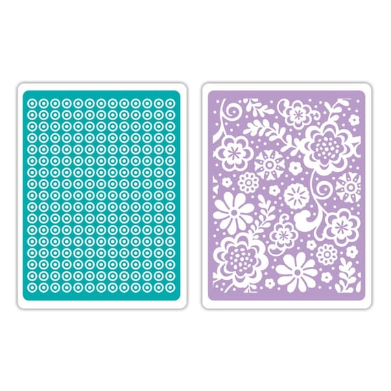 Sizzix Textured Impressions Embossing Folders 2PK - Sweet Dots & Florals Set 659726