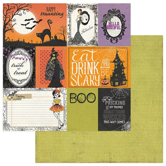2 Sheets of Photo Play BOOTIFUL 12x12 Halloween Scrapbook Paper - 3x4 Cards
