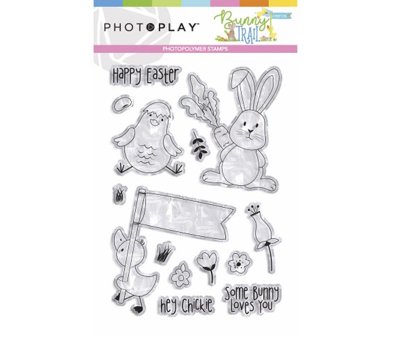 New! Photo Play BUNNY TRAIL Easter Theme Polymer Stamp Set (BTL9234)
