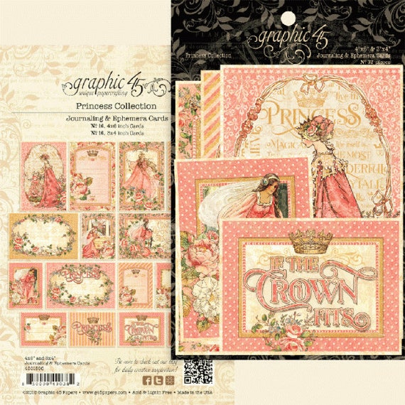 New! Graphic 45 PRINCESS Journaling & Ephemera Cards (4501805)