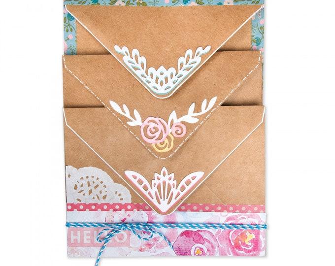 New! (will ship July 25th) Sizzix Thinlits Die Set 5PK - Envelope Corners by Katelyn Lizardi 662794