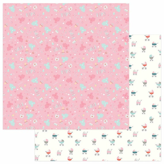 New! 2 Sheets of Photo Play SNUGGLE UP GIRL 12x12 Baby Theme Scrapbook Cardstock Paper - Cuddle Time