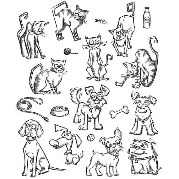 Tim Holtz Mini CRAZY CATS & DOGS Cling Mount Rubber Stamps Set by Stampers Anonymous CMS272
