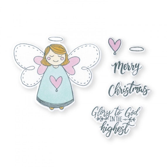 New! Sizzix Framelits Die Set 8PK w/Stamps - Angel, Glory in the Highest by Katelyn Lizardi 663160