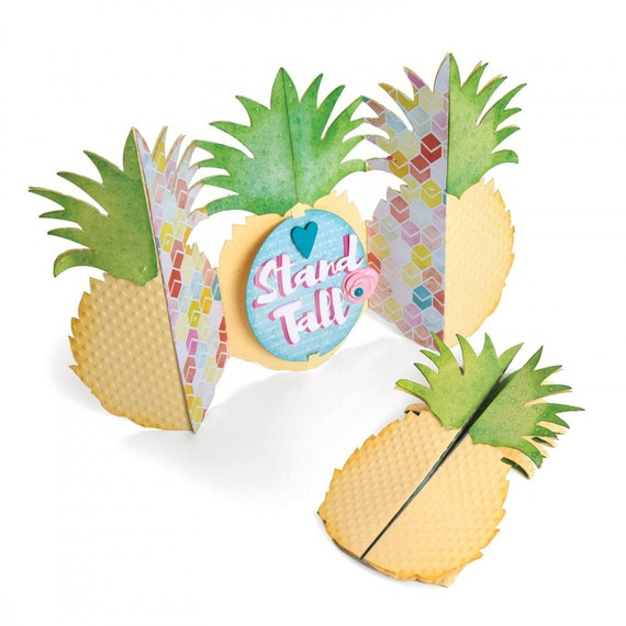 Sizzix Thinlits Die Set 10PK - Card, Pineapple Fold-a-Long by Jen Long 662727
