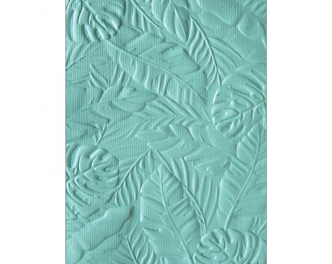 New! (will ship July 25th) Sizzix 3-D Textured Impressions Embossing Folder - Tropical Leaves by Courtney Chilson 662827