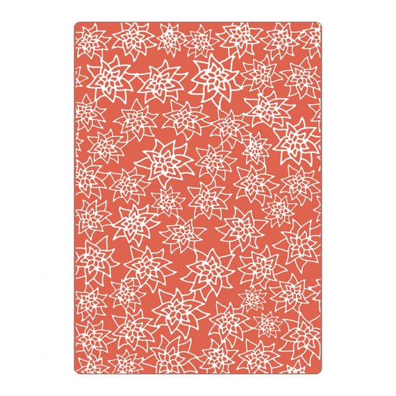 New! Sizzix Textured Impressions Plus Embossing Folder - Flores Navideñas (Christmas Flowers) 663226