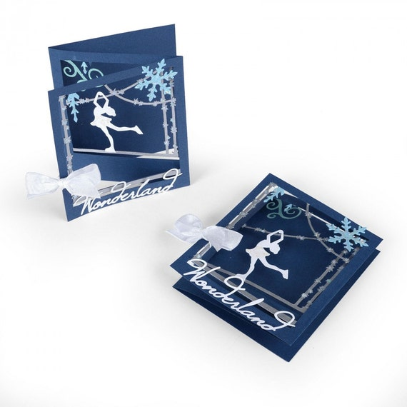 New! Sizzix Thinlits Die Set 12PK - Tri-fold Card, Ice Skater by Lindsey Serata 661558
