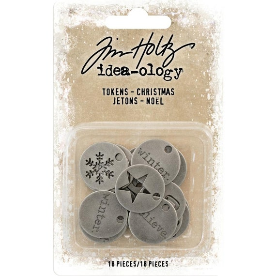 Tim Holtz Idea-Ology Metal Typed Tokens (Charms) - Christmas Theme TH93750 New for 2018