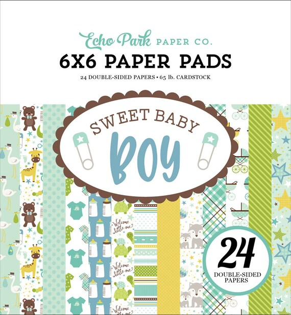 Echo Park Paper SWEET BABY BOY 6x6 Scrapbook Paper Pad - Great for Cardmaking!