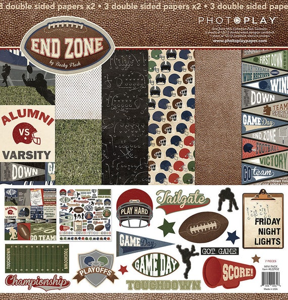 Photo Play END ZONE 12x12 Football Theme Scrapbook Cardstock Paper Collection Kit