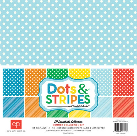 Echo Park Paper DOTS & STRIPES Summer 12x12 Scrapbook Paper Collection Kit (DS15015)
