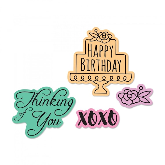 New! Sizzix Framelits Die Set 4PK w/Stamps - Simple Sentiments by Lindsey Serata 662937