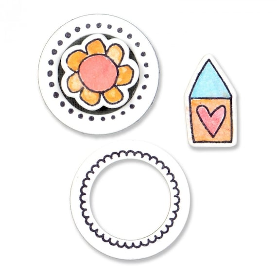 Sizzix Framelits Die Set 4PK w/Clear Stamps - Circles and Icons, Flower & House 661100