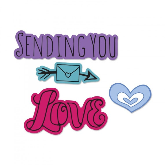 New! Sizzix Framelits Die Set 3PK w/Stamps - Sending You Love by Katelyn Lizardi 662935