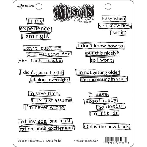 New! Dylusions OLD Is The NEW BLACK Cling Mount Rubber Stamps Set by Dyan Reaveley
